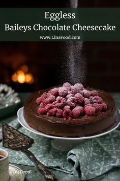 Easy Eggless Baileys Chocolate Cheesecake, a deliciously decadent chocolate cheesecake for all of you with an egg allergy. #egglessrecipes, #eggfreecake, #cheesecakes, #valentinerecipes, #linsfood Healthy Cheesecake, Cheesecake Recipes, Cupcake Recipes, Cupcake Cakes, Dessert Recipes, Pie Recipes, Cupcakes, Cake Cookies, Baking Recipes