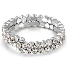Bracelet avec cristak (Transparent)  Description: Bracelet de style spirale en alliage plaqué or blanc. Il n'y a pas de ouverture mais il est élastique et donc expanxible. 55 petites colo