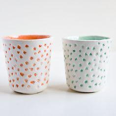 Neon Tumbler Set pair of dotted modern ceramic cups by karoArt
