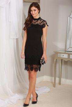 Briona Black Crochet Lace Overlay Midi Dress