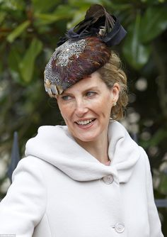 Flight of fancy: The Countess of Wessex Sophie wore a feathered hat to the traditional Easter service at St George's Chapel in Windsor Castle