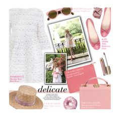 """""""delicate - exact match"""" by federica-m ❤ liked on Polyvore featuring Celebrate Shop, Kate Spade, Surratt, Stila and Illesteva"""