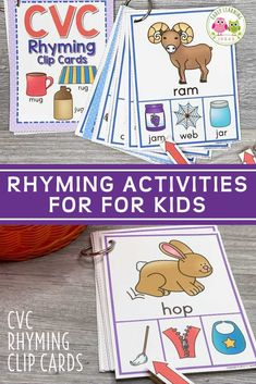 These rhyming clip cards will help your kids see and hear rhymes in simple CVC words. Kids love clipping clothespins on the rhyming words in this activity. Perfect for small group or independent activities in your preschool, pre-k, kindergarten, or SPED classroom, or at home. An engaging way to teach rhyming, early literacy concepts, and phonological awareness to young children. Literacy Skills, Kindergarten Literacy, Early Literacy, Literacy Centers, Word Family Activities, Rhyming Activities, Language Activities, Phonemic Awareness Activities, Phonological Awareness