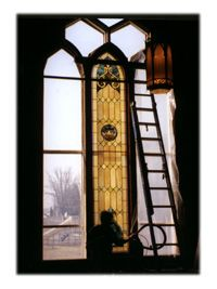 Installation of the restored stained glass windows