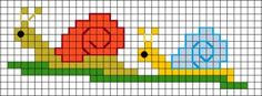 Free snail cross stitch pattern to make a bookmark or doodad for your snail mail pen pal.