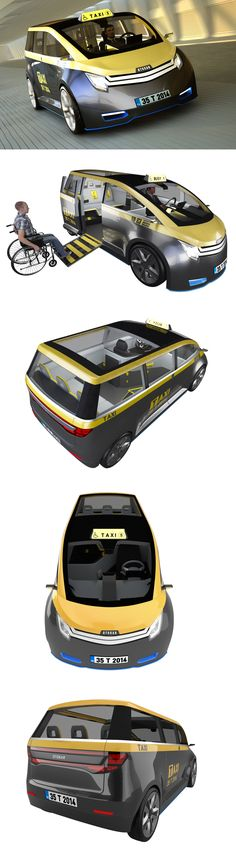 Taxi Design by Arif Madanoglu. Volt is an electric taxi designed to provide passengers a contemporary riding experience while responding to the problems that current taxis have.