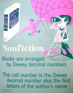I just posted two of these on my bulletin board (the nonf and fiction ones) 19 Wonderful Vintage School Library Posters