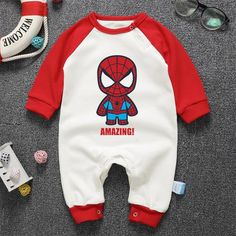 Baby Rompers Super Heros Spiderman Hulk Baby Boy G Baby Outfits Newborn, Baby Boy Newborn, Baby Boy Outfits, Kids Outfits, Boys And Girls Clothes, Cute Baby Clothes, Girls Rompers, Baby Rompers, Captain America
