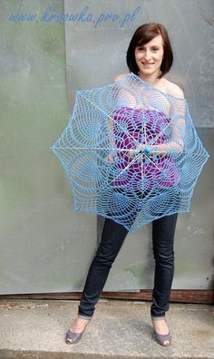 blue crochet umbrella