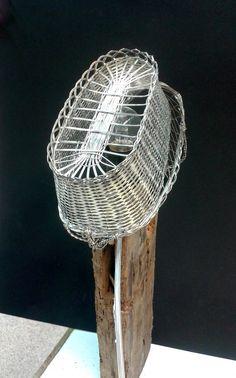 "By Benestart - mental health workshop: ""Hat"" Lamp / Llum ""Barret"", Llautó, fusta, acer (30x15x70cm) / Lámpara ""Sombrero"" '15 Light Installation, Acer, Lights, Chair, Home Decor, Pallets, Decoration Home, Room Decor, Stool"