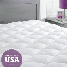 Extra Plush Bamboo Top Mattress Pad | Made From Rayon: - Rayon from Bamboo blend fabric is silky and helps regulate body temperature - Constructed with double needle baffle box stitching | traps fill