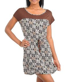 Take a look at this Brown & Gray Dress by Buy in America on #zulily today!