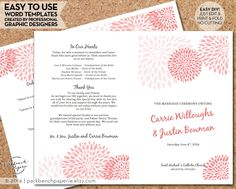 Wedding Program Template - Mums Coral- DIY Editable Word Template Instant Download Printable Edit your text & Print at Home