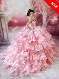 2014 New Limited Edition Handmade luxury Pink Princess dress for barbie doll send shoes Free Shipping