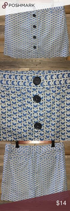 """J.Crew button front mini skirt Sz 6 J.Crew blue and white swirl design mini skirt. Size 6. This skirt buttons the whole way up the front. It has 2 back pockets. Great condition with no holes, stains or tears. Measurements taken laying flat. Waist almost 16"""", length 16"""". J. Crew Skirts Mini"""