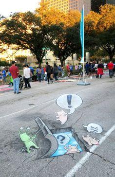 Le street-art attendrissant et éphémère de David Zinn, rien qu'avec de la craie   Buzzly