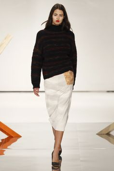 Black Turtle Neck SweaterTop and Beige Ankle Length Slim Skirt - Louise Friedlaender Berlin Fall 2016 Fashion Show