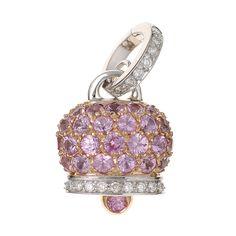 Campanelle - 17705 - Ciondolo medio in oro bianco e rosa, diamanti e pavé di zaffiri rosa