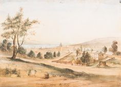 Artist Unknown, Colonial School Hobart Town, 1856, watercolour titled and dated 1856 in image Original Huon pine frame