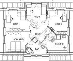Landhaus Grundriss Dachgeschoss mit 90,59 m² Wohnfläche