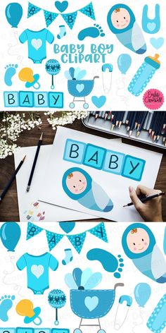 Baby Clip Art, Baby Blocks, Baby Design, I Shop, Balloons, Onesies, Banner, Baby Boy, Digital
