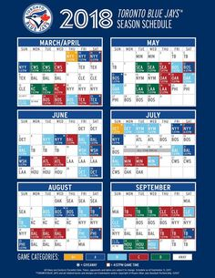 Opening day for the Toronto Blue Jays will be at home against the New York Yankees, as the team revealed its 2018 regular season schedule. New York Yankees Baseball, Sports Baseball, Baseball Shirts, Baseball Stuff, Sports Teams, Softball, Toronto Blue Jays, Baseball Injuries, Baseball Quotes