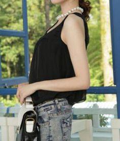 Round Neck Sleeveless Black Chiffon Long T-shirt