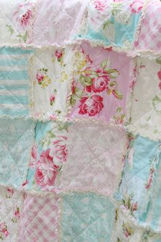 Turquoise and pink rose nursery rag quilts | Crib Rag Quilt Baby Girl Crib Bedding Shabby Chic by justluved, $109 ...