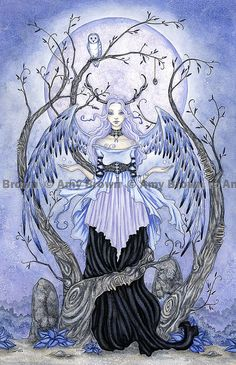 Moon Maiden 8.5x11 fairy PRINT Amy Brown by AmyBrownArt on Etsy