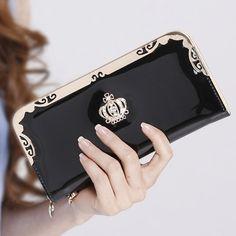 $8.04 (Buy here: https://alitems.com/g/1e8d114494ebda23ff8b16525dc3e8/?i=5&ulp=https%3A%2F%2Fwww.aliexpress.com%2Fitem%2FBrand-New-2015-Fashion-Cute-Women-Wallets-Matte-PU-Leather-Hasp-Zipper-Long-Purse-For-Girls%2F32467012701.html ) 2016 Brand Women Wallets Fashion Diamond Crown Wallet Long Sweet Lady Purse Female Clutch Wallet for just $8.04