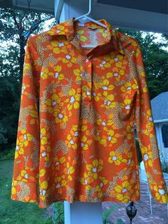 Hippee Blouse Funky ORANGE Pop Art Flowers Bold by vintagemb60