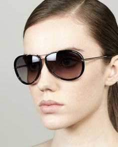 Cyrille Aviator Sunglasses, Rose Golden/Black by Tom Ford at Neiman Marcus.