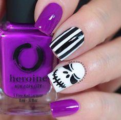 55 Trending Geometric Nail Designs For 2019 Spring - Nail Art Connect Holloween Nails, Cute Halloween Nails, Halloween Acrylic Nails, Halloween Nail Designs, Cute Acrylic Nails, Cute Nails, Acrylic Nails Coffin Short, Stiletto Nail Art, Halloween Jack