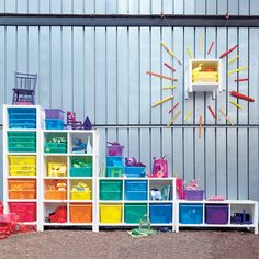 Kids' Storage Containers: Kids Colorful See-Through Stackable Box in Craft Storage from Land of Nod Large Plastic Storage Boxes, Toy Storage Boxes, Plastic Container Storage, Kids Storage, Cube Storage, Craft Storage, Storage Containers, Storage Ideas, Toy Organization