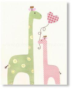 Giraffe berçário Eu te amo mamãe impressão do berçário por GalerieAnais