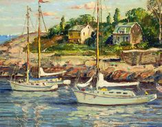 """""""Bearskin Neck, Rockport, Mass.,"""" Wayne Morrell, 1982, oil on panel, private collection."""