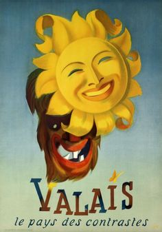 """1949 """"Wallis, the country of the contrast, Swiss vintage travel poster"""