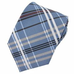 Classic Plaid Sky Blue Tie