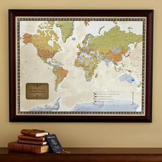 Personalized Travel Destination Map. Pins and flags are included along with personalized message.  A great way to remember your amazing adventures