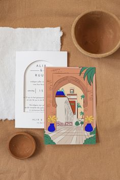 Droom je van een huwelijksreis in verre landen? Laat je verleiden door de trouwkaart Marrakech en nodig jullie gasten uit op een reis in de kleuren van de okerkleurige stad. Dubbel gevouwen uitnodiging met een mooie geïllustreerde kaart. Op de omslag zorgt een deurvormige opening ervoor dat de afbeelding van de kaart zichtbaar is. De achterkant van de kaart is te bewerken. Schrijf de belangrijkste informatie hier op zodat jullie gasten op de hoogte zijn van het dagprogramma. Marrakech, Books, Libros, Book, Book Illustrations, Libri