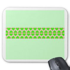 French Lime Green Hearts Mint Green Background Mouse Pad