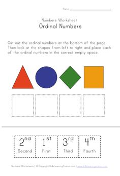 ordinal numbers matching - cut and place.