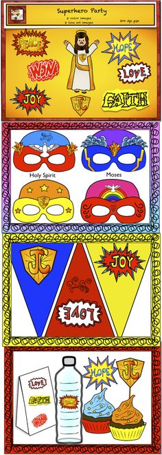 "The post ""FREE Superhero party with a twist! Free Superhero clipart, Free Superhero mask templates, Song, Dance, and party ideas. Good idea for bible and Sunday schools! :)"" appeared first on Pink Unicorn Dance Sunday School Songs, Sunday School Crafts, Church Activities, Bible Activities, Party Activities, Superhero Party, Superhero Clipart, Superhero Ideas, Superhero Classroom"