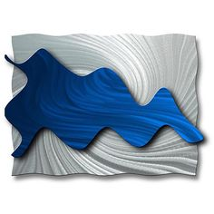 If you want to breathe new life into your living room, this abstract Ash Carl metal wall art will do the trick. Hydrodynamic features a stunning silver background and shocking blue center that will propel your room out of the past and into the future.