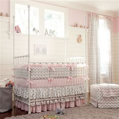 Pink and Gray Chevron Crib Bedding #carouseldesigns