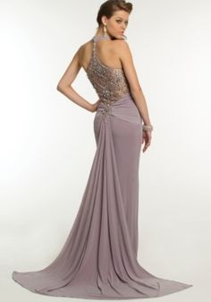 Camille Long Jersey Dress with Beaded Plunging Neckline