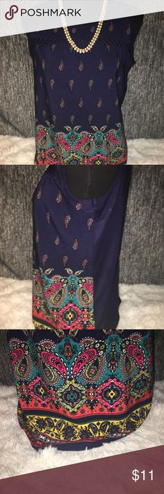 Carol Rose Paisley Top Beautiful Carol Rose Sleeveless Top with paisley design on the bottom! Carol Rose Tops