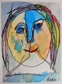 bind contour drawing self portrait project with watercolor for children