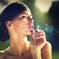 smoking woman, portrait, color
