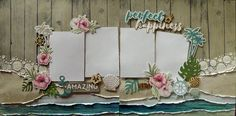 Happy Easter - double page 12 x 12 scrapbook layout kit. This GORGEOUS kit comes with everything you need, already pre-cut for you, to complete this stunning layout. I LOVE everything about this layout. Cruise Scrapbook Pages, Beach Scrapbook Layouts, Travel Scrapbook, Scrapbooking Layouts, Scrapbook Templates, Scrapbook Sketches, Sketch 4, Photo Layouts, Wedding Scrapbook